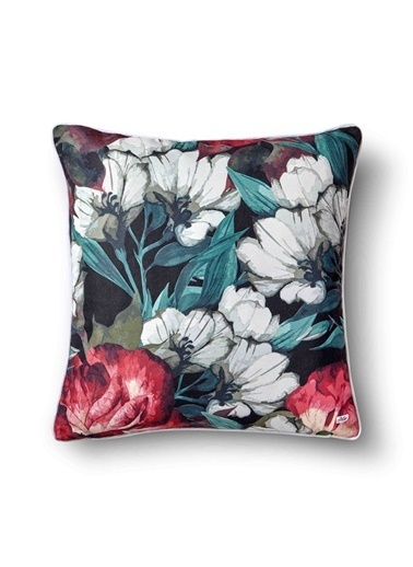 The Mia Floral Yastık C - Beyaz Kırmızı Çiçekli 50 x 50cm Beyaz